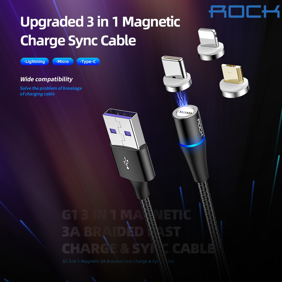 ROCK G1 3in1 Lightning/Mirco/Type-C Magnetic Braided Cable