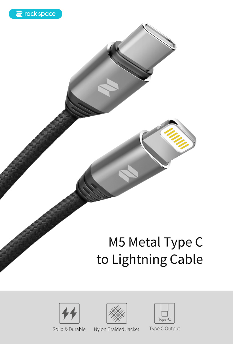 REGO Communication Sdn Bhd - Rock Space | rock space M5 Type C to Lightning Cable