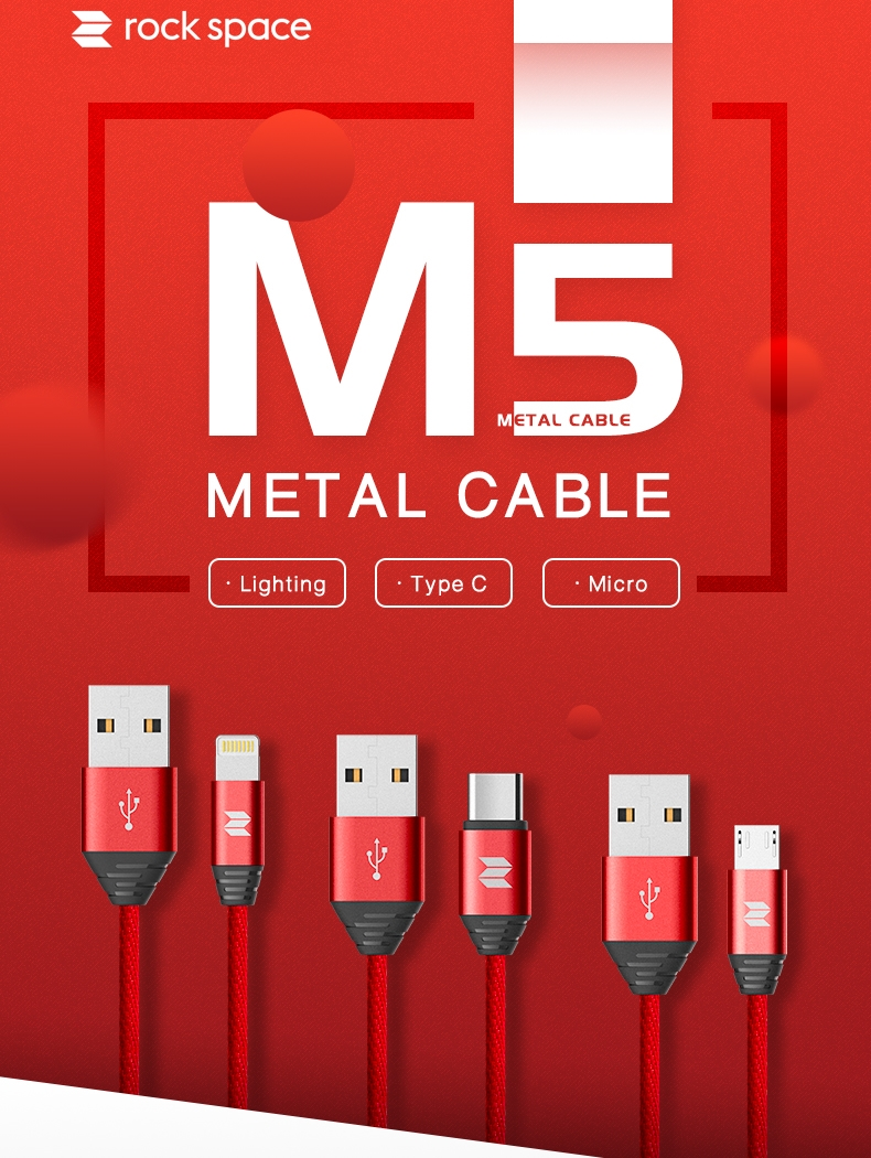 REGO Communication Sdn Bhd - Rock Space | rock space M5 Metal Type-C/Mirco Cable