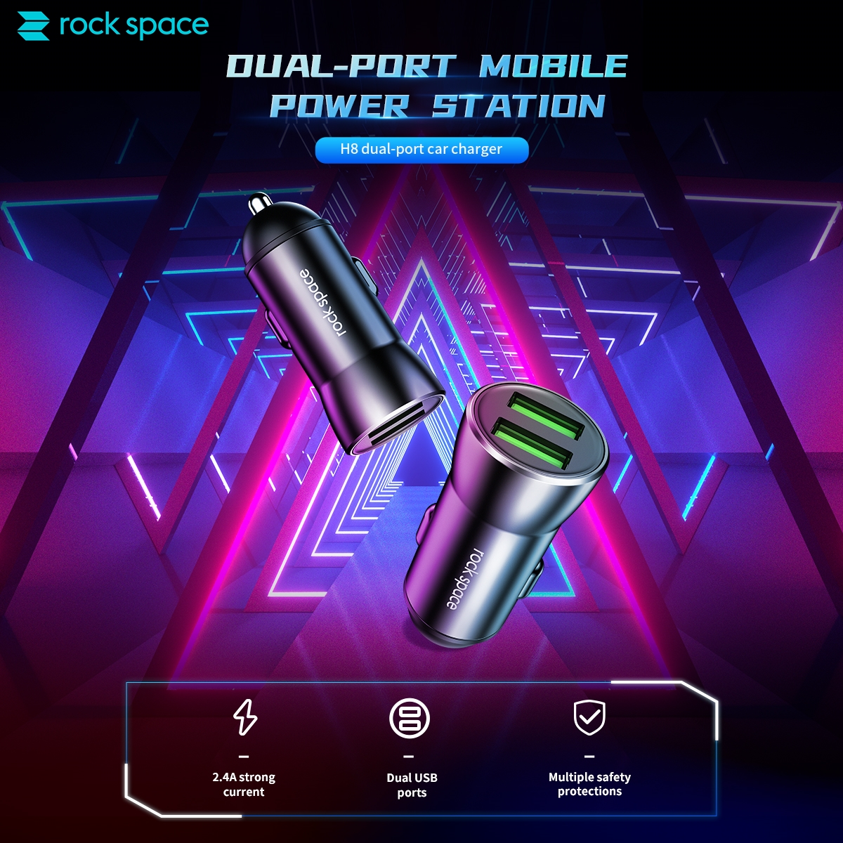 rock space H8 Dual Port Car Charger 12W