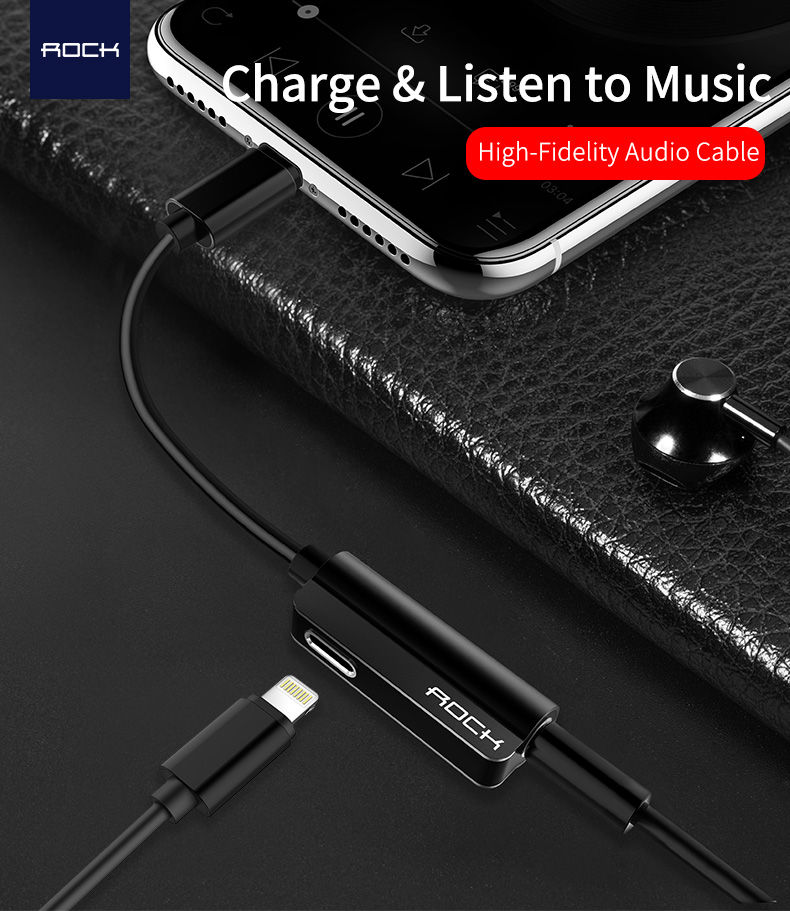 ROCK Metal Lightning Charger & Audio Cable
